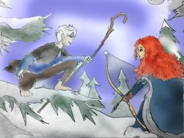 Merida and the Snow man by Omnipotrent