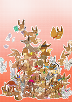 PMD-E Eevee pile! by yassui