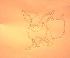 Sketch of flareon and cyndaquil 2 by pokefan444