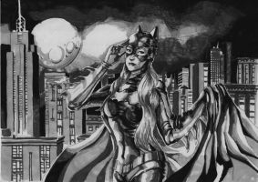 Batgirl ready for action, marker version by cric