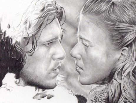 Game of Thrones: Ygritte and Jon Snow WIP by shonechacko