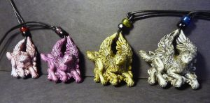 Winged FULL BODIED wolf pendants FOR SALE by Meadowknight