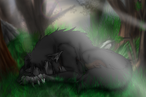 sleeping werewolf by petplayer976