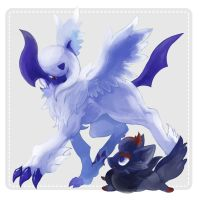 MegaAbsol and Zorua by marucoboolo