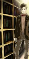 Sad 11th Doctor in the Library (fragment) by Tote-Dietrich