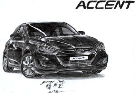 Hyundai Accent 2011 Drawing by toyonda
