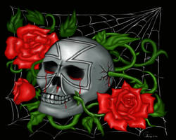 Skull and roses by scayne