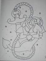 anchor and rose outline by armada27