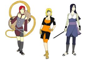 Gaara, Naruto, Sasuke - Gender Bender Contest by bex1302