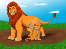 Mufasa and Simba by Rakaye