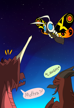 Here comes Mothra by YourFriendDestoroyah