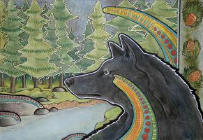 Black Wolf and Pines by Ravenari
