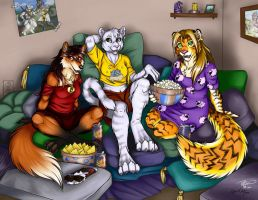 Commission - Movie Night by ralloonx