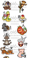 Stikers :chinese zodiac by EtiBR