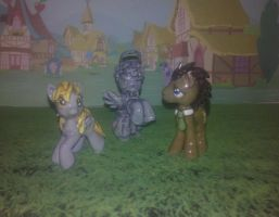 MLP Customs:Doctor Whooves, Derpy + Weeping Angel! by vulpinedesigns