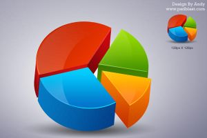 3D pie chart icon PSD by psdblast