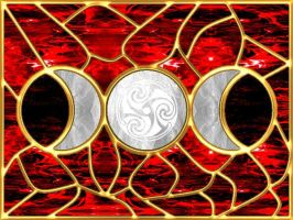 Triple Moon Stained Glass 3 by copperphoenix