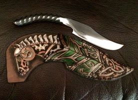 Leather steampunk horse knife sheath by Katiefiorito