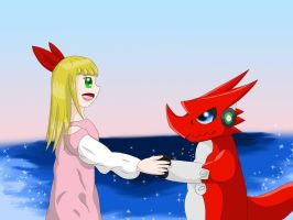 Haley and Shoutmon by Icedragon300