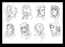 Protagonist sketches by Rhubarbarian