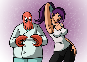 Leela and Zoidberg by darkkeferas