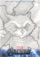 Avengers Assembled Sketchcard - Rocket Raccoon by theopticnerve