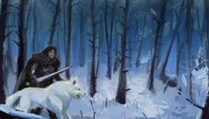 Game of Thrones: John Snow ranging with Ghost by zelldweller