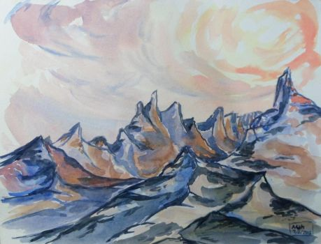 burning mountains-Landscape 25 watercolor by mahart-TR