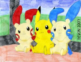 Pikachu, Plusle and Minun by devonn
