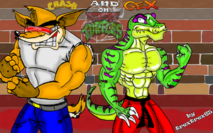 CRASH AND GEX ON TMNT style by trextrex65