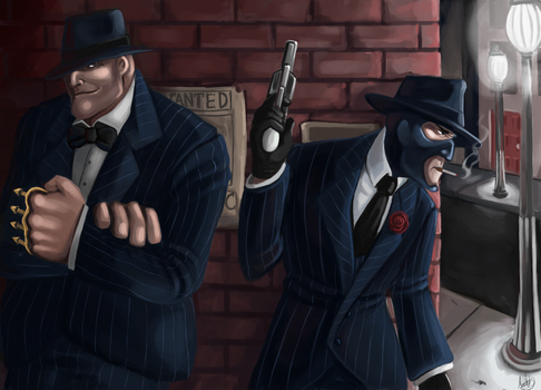 Team Fortess 2- Mobster Monday by LittleMeesh