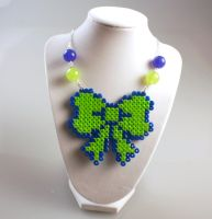 Perler Necklace - Green Bow by MelodyMaid