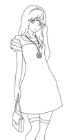 Pretty Dress Lineart by dibandgazbrothersis
