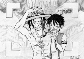 Ace Luffy (Black White) by AmuChiii92
