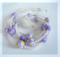 "Necklace ""Pearl flowers"" by Kakomicly"