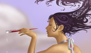 Painting the Sky- head detail by spyra