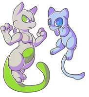 Mewtwo and Mew by RegallyFlawed
