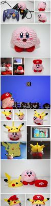 Kirby + Mario and Pikachu hats by jeibeas