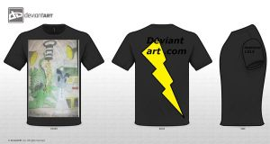 space amoeda vs deviant art on tshirt by daylover1313