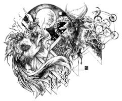 Rooster and Goat tattoo design by Kaos-Nest