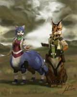Krystal and Miyu Taurs request by JECBrush by dragonheart07