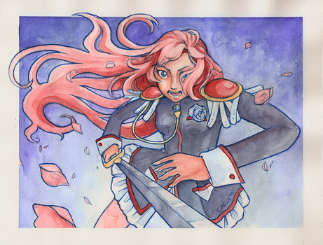 Utena stabbing a flower by puchiko2