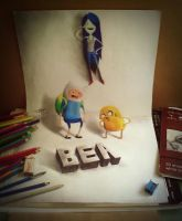 finn and jake 3d drawing by Arthur T. Cortez by ATCdrawings