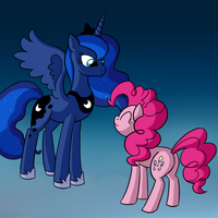 Luna and Pinkie pie comission by Darkselia