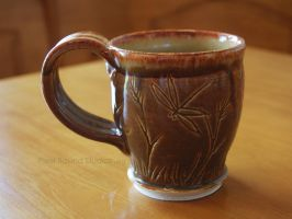 Ceramic Bronze Dragonfly Themed Mug by ashynekosan