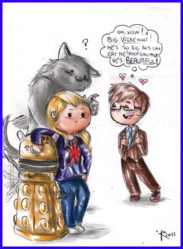 Chibi Doctor Who - Tenth, Rose, Dalek and werewolf by FuriarossaAndMimma