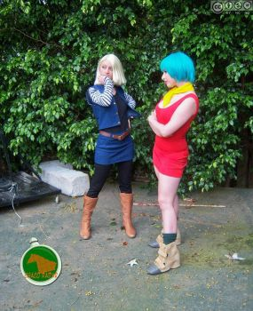 Android 18 and Bulma by debbiichan