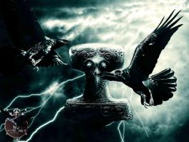 Ravens with Mjolnir by thecasperart