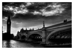 Westminster Bridge - HDR - B+W by AbiGriffey