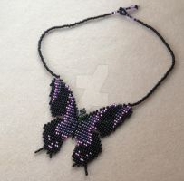 Butterfly Necklace - Lavender and Amethyst by WhiteMagicPriestess